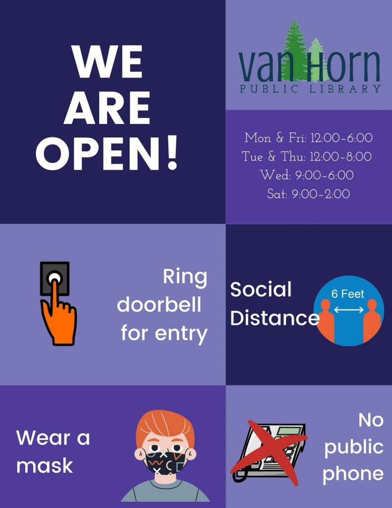 We are open. Ring doorbell for entry. Wear a mask. Social distance.