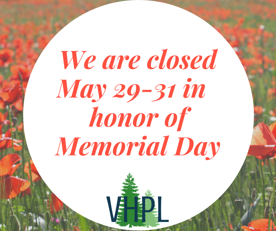 We are closed May 29-31 in honor of Memorial Day.